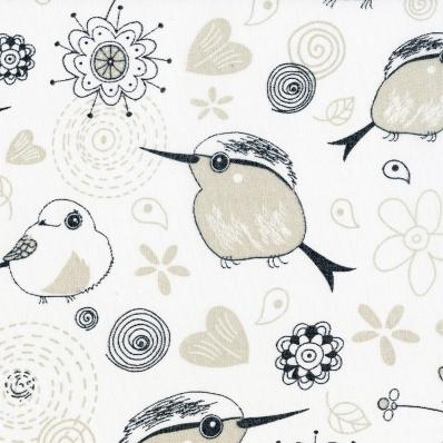 Рулонные шторы ПТИЧКИ 0225 белый купить по низкой цене в интернет-магазине okno19.ru
