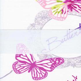 Рулонные шторы-зебра БАБОЧКИ 4096 розовый купить по низкой цене в интернет-магазине okno19.ru