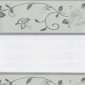 Рулонные шторы-зебра ОРНАМЕНТ 7013 серебро купить по низкой цене в интернет-магазине okno19.ru