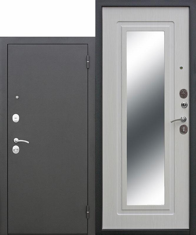 Дверь Царское зеркало Металл Черный Муар/МДФ Белый Ясень (960*2050*60*1,5 мм) левая купить по низкой цене в интернет-магазине okno19.ru