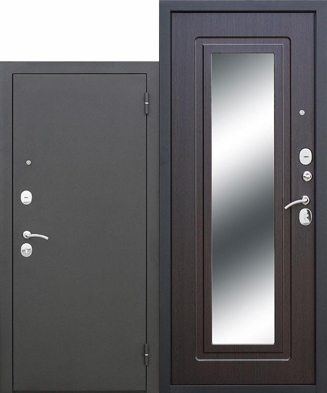 Дверь Царское зеркало Металл Черный Муар/МДФ Венге (960*2050*60*1,5 мм) правая купить по низкой цене в интернет-магазине okno19.ru