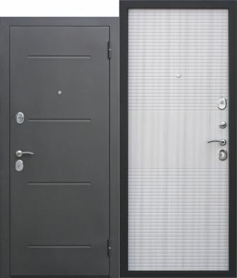 Дверь Гарда муар Металл Черный муар/МДФ Ясень белый (960*2050*75*1,2 мм) правая /Пенополистерол/ купить по низкой цене в интернет-магазине okno19.ru