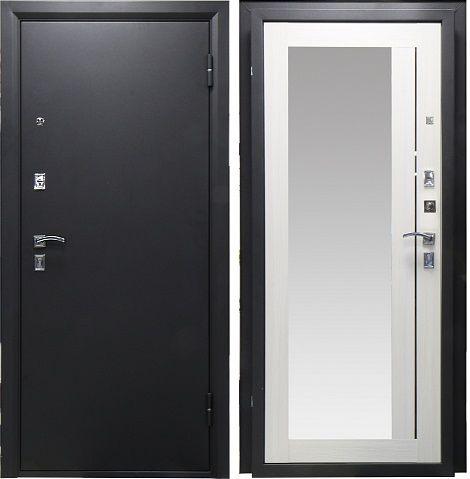 Дверь Рефлект Металл Серебро/МДФ Беленый дуб с зеркалом (860*2050*74*1,4 мм) левая /Пенополистерол/ купить по низкой цене в интернет-магазине okno19.ru