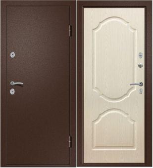 Дверь Триера 21 (ТЕРМОРАЗРЫВ) Металл Медь антикварная/МДФ Дуб беленый (880*2050*100*1,4 мм) правая купить по низкой цене в интернет-магазине okno19.ru