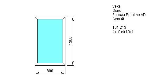 Окно одностворчатое глухое 800*1300 из ПВХ профиля VEKA EVROLINE 3-камерный 58 мм купить по низкой цене в интернет-магазине okno19.ru
