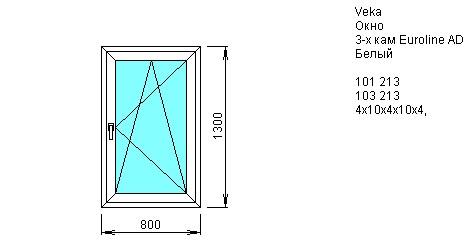 Окно одностворчатое открывающееся 800*1300 из ПВХ профиля VEKA 3-камерный 58 мм купить по низкой цене в интернет-магазине okno19.ru
