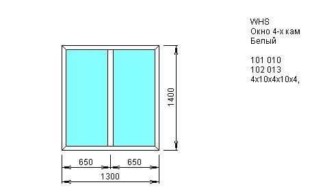 Окно двустворчатое глухое 1300*1400 из ПВХ профиля VEKA WHS 4-камерный 60 мм купить по низкой цене в интернет-магазине okno19.ru