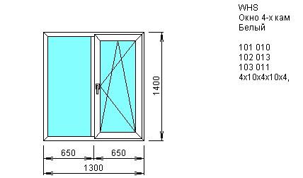 Окно двустворчатое со створкой 1300*1400 из ПВХ профиля VEKA WHS 4-камерный 60 мм купить по низкой цене в интернет-магазине okno19.ru