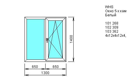 Окно двустворчатое со створкой 1300*1400 из ПВХ профиля VEKA WHS 5-камерный 72 мм купить по низкой цене в интернет-магазине okno19.ru