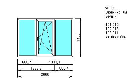 Окно трехстворчатое со створкой 2000*1400 из ПВХ профиля VEKA WHS 4-камерный 60 мм купить по низкой цене в интернет-магазине okno19.ru