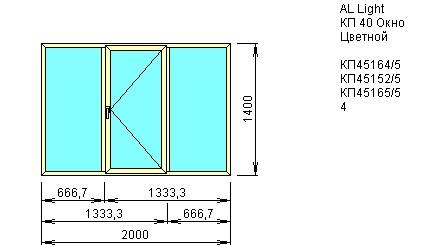 Окно трехстворчатое со створкой 2000*1400 из Алюминиевого профиля КП40 купить по низкой цене в интернет-магазине okno19.ru