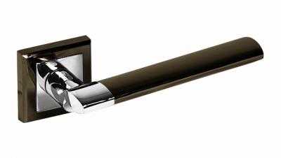 Ручка фалевая на квадратной накладке ЦАМ Цвет: Черный никель / Хром Артикул: 219 BH/PC